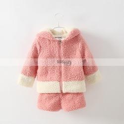 Fashion Warm Winter Girls 2pcs Clothing Sets Fleeced Rabbit Ears Top Coat+Pants Thick Kids Sets Clothes CS81106-56