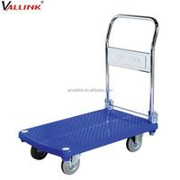 Industrial Folding Handle Plastic Platform Trolley Cart