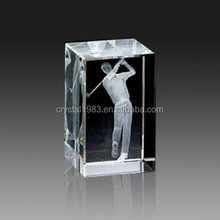 Wholesale k9 glass fishes lasing pattern block 3d photo cube crystal