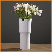 Matt white ceramic vase art creative office soft ceramic ornament ornaments home crafts