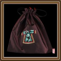Low price useful stain silk drawstring pouch