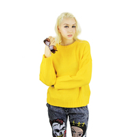 Colourful Yellow Acrylic Knitted Women Custom Made Sweater