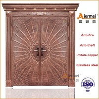 exterior double metal door imitate copper entry door stainless steel door