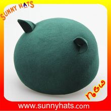 Customize Different Colors 100% Wool Felt Cute Beanie Hats With Cat Ear For Fashion Girl Cheap Wholesale
