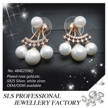 2015 Famous pearl jewelry earring stud gold plated types wedding jewelry set handmade bridal pearl earring fashion