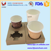 Disposable coffee paper cup holder tray for 2 or 4 cup