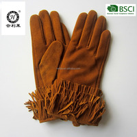 New design ladies suede leather gloves with tassels
