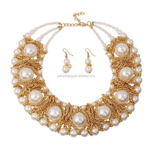 Fashion Necklace earring set with pearl beads, chunky beads jewelry set(NE-20150428004)