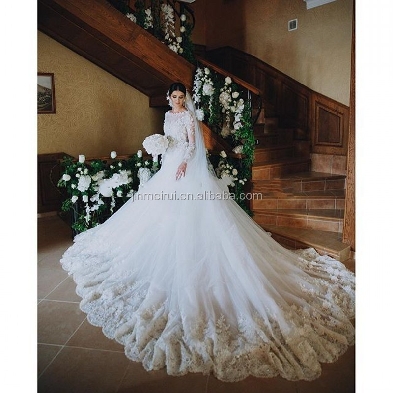 2017 Luxury A Line Wedding Dresses Vintage Cathedral Train Lace ...