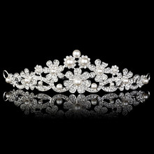 Clear Crystal Flower Imitate Pearl Wedding Bridal Crown Tiara Hair Jewelry