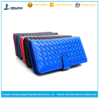 wholesale lambskin leather weave ladies purse women travel wallet ladies evening clutch bag
