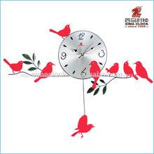 De metal del reloj de pared de hierro de aves del péndulo del reloj de diseño silencioso barrido/paso reloj del arte