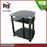 Chinese living room furniture cheap black lacquer glass tv stand