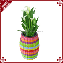 SD PE rattan colorful customized oval shape garden flower pot made in P.R.C