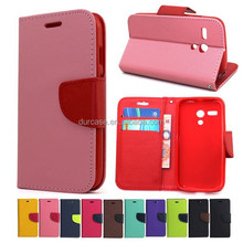 Fashion Book Style Leather Wallet Cell Phone Case for lenovo A858T with Card Holder Design