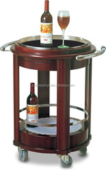 Stainelss steel & wooden high quality liquor trolley wine trolley