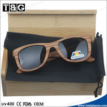 Zebra wooden sunglasses with bamboo box high quality spring metal hinge driving glasses