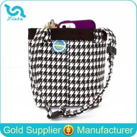 Black Houndstooth Canvas Small Car Sundries Organizer Hanging Car Organizer