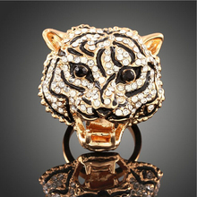 Wholesale jewelry men's high-end fashion leopard head animal shaped rings