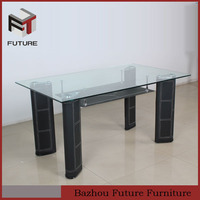 2014 square glass top dining table with pvc