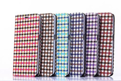 Fashion Plaid Line PU Leather Case for samsung Galaxy s6 g920