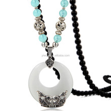 2015 fashion latest design jewelry beaded necklace round opal long chain pendant necklace 175