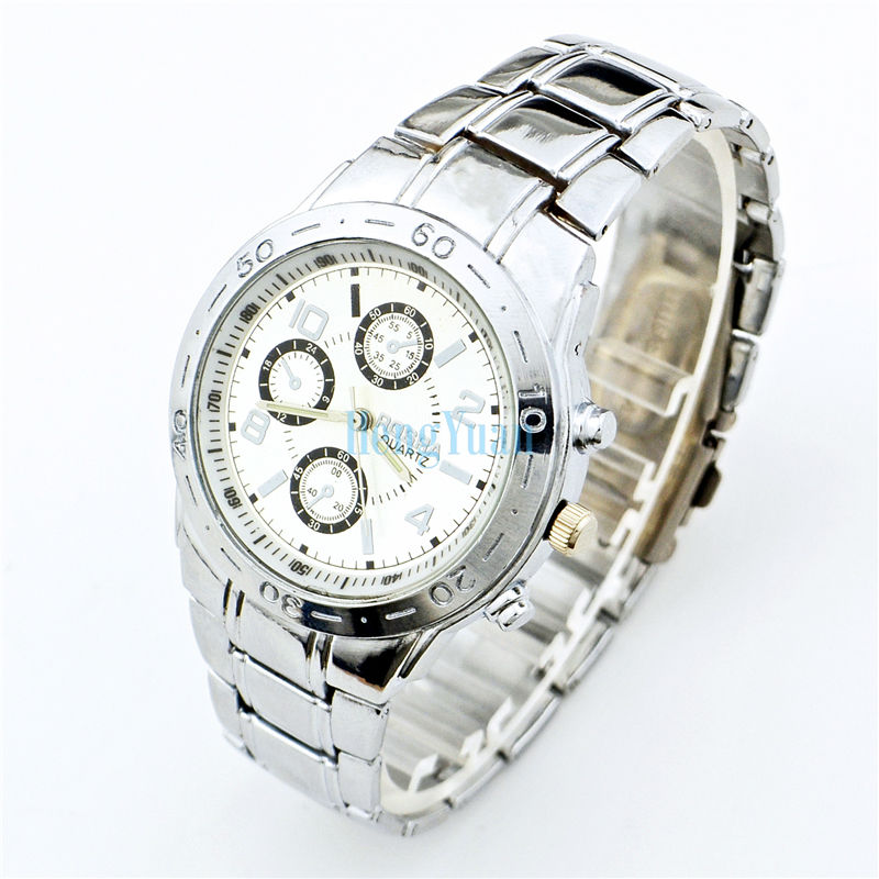 Rosra quartz watch black white dial silver chain men full stainless steel dress watch for Rosra watches