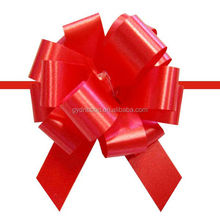 "5"" Red Christmas Pull Ribbon Bow, soild pull bow, satin ribbon made by bow machine"