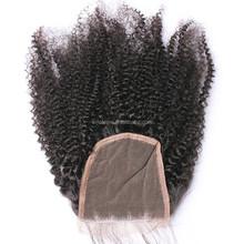 black person Mongolian Kinky Curly Hair Lace Closure Virgin Human Afro Kinky Curly Hair Closure