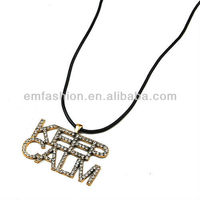Fashion One Direction Rhinestone KEEP CALM Words/Letters Pendant Leather Cord Necklace