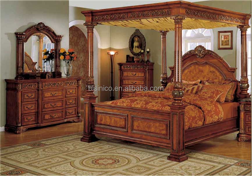 Bisini antique bedroom furniture king size double bed for B q bedroom furniture sets