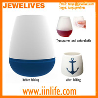 New foldable unbreakable silicone wine glass