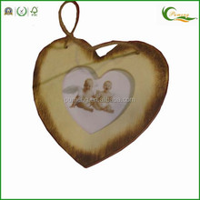 Carved Antique Wooden Hanging Hearts with Photo Frame