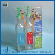 4pcs/set printed sqaure glass vinegar and pepper set with PVC box