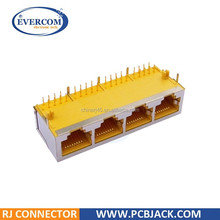Side Entry Shielded 1*4 Multi ports Yellow RJ45 10P8C PCB Modular Jack