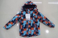 2015 European new designs boys winter printed jacket with hood