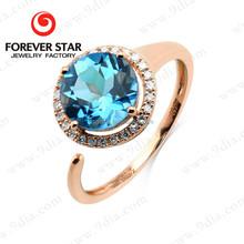 2015 Alibaba Express Best Selling Blue Topaz 14K 2 Gram Gold Ring Designs