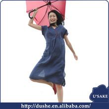 usake high quality women summer frock designs indigo fabric chambray short sleeve dress for OEM U'sake factory