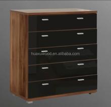 HXDL151-44 Huaxu Wide Storage Chest Of 5 Drawers Black Gloss Dresser