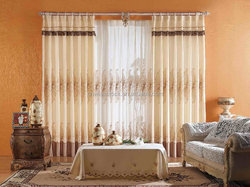 Embroidered curtains and drapes, sheer