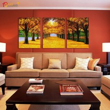 Group Painting Autumn Landscape Wall Art Pictures for Hotels