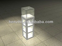 Glass Watch display cabinet with led light,retail store corner tower display counter
