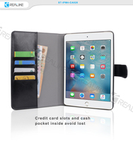 New products 2016 magnet closure wallet stand leather for ipad mini 4 flip case