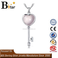 wholesale silver jewelry rose quartz heart pendant and a key, natural gemstone pendnant