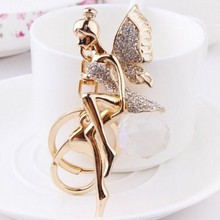 2015 new beautiful angel diamond wings Crystal ball creative luxuryJewelry keychain girls birthday gift
