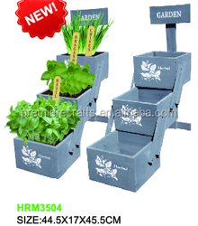 herb wooden planter with compost & seed