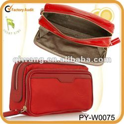Make-Up patent leather-trimmed nylon cosmetic bag