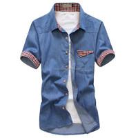 Latest New Design Men's Short Sleeve Patched Pocket Denim Shirt Cowboy's shirts
