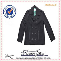 Sunnytex winter clothing double breasted black wool coat