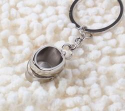 MCH056 12pcs/lot Silver Motorcycle helmet keychain key ring chain key fob